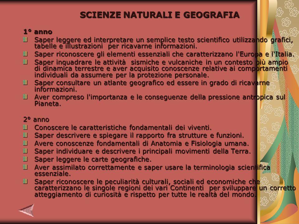 SCIENZE NATURALI E GEOGRAFIA 1° anno Saper leggere ed interpretare un semplice testo scientifico utilizzando grafici, tabelle e illustrazioni per ricavarne informazioni.