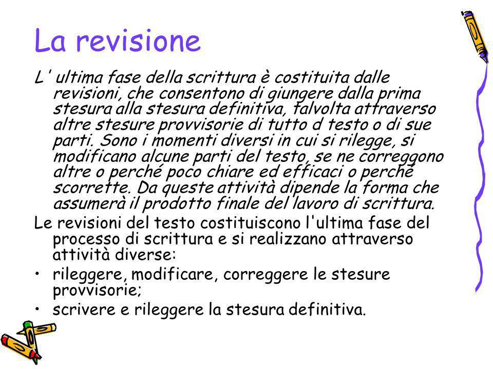 La revisione L ultima fase della scrittura è costituita dalle revisioni, che consentono di giungere dalla prima stesura alla stesura definitiva, talvolta attraverso altre stesure provvisorie di tutto d testo o di sue parti.