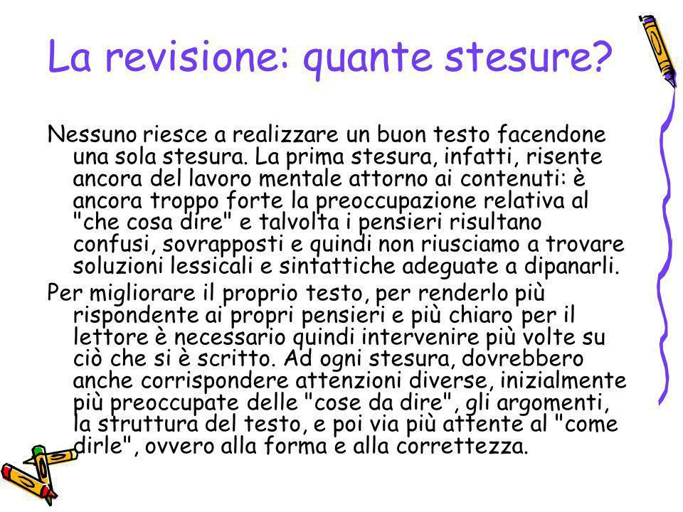 La revisione: quante stesure.Nessuno riesce a realizzare un buon testo facendone una sola stesura.