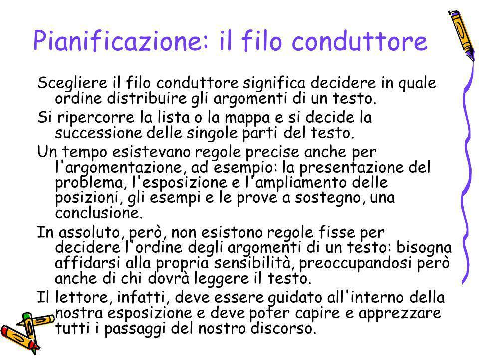 Pianificazione: la scaletta Scelto il filo conduttore che lega fra loro i vari argomenti, si può stendere la scaletta del testo (o traccia).