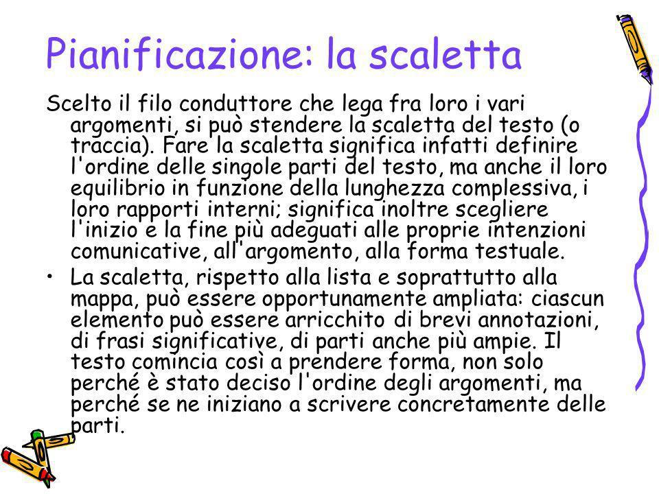 Pianificazione: esempio di scaletta Lista degli argomenti e filo conduttore La situazione dei trapianti in Italia è disastrosa - Basso numero di.