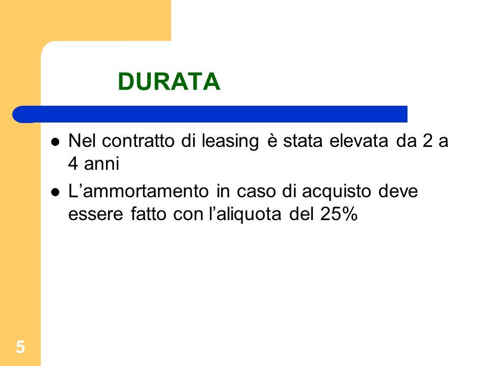 5 DURATA Nel contratto di leasing è stata elevata da 2 a 4 anni Lammortamento in caso di acquisto deve essere fatto con laliquota del 25%