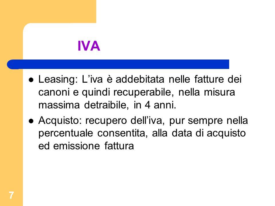7 IVA Leasing: Liva è addebitata nelle fatture dei canoni e quindi recuperabile, nella misura massima detraibile, in 4 anni. Acquisto: recupero delliv