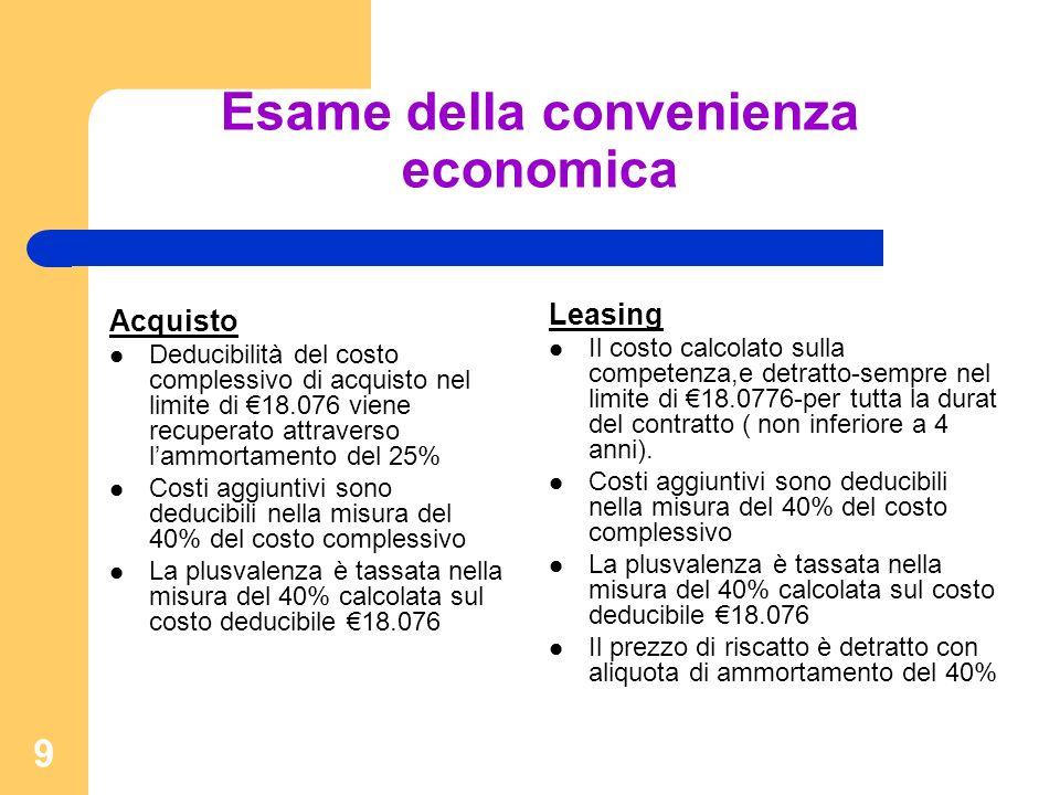 9 Esame della convenienza economica Acquisto Deducibilità del costo complessivo di acquisto nel limite di 18.076 viene recuperato attraverso lammortamento del 25% Costi aggiuntivi sono deducibili nella misura del 40% del costo complessivo La plusvalenza è tassata nella misura del 40% calcolata sul costo deducibile 18.076 Leasing Il costo calcolato sulla competenza,e detratto-sempre nel limite di 18.0776-per tutta la durat del contratto ( non inferiore a 4 anni).