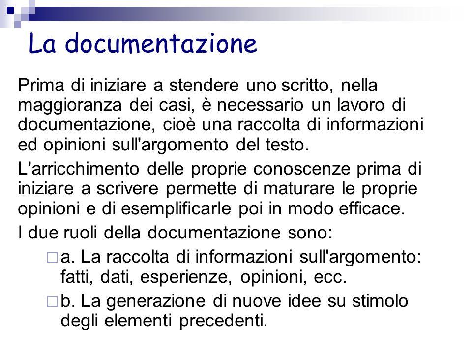 La documentazione Prima di iniziare a stendere uno scritto, nella maggioranza dei casi, è necessario un lavoro di documentazione, cioè una raccolta di