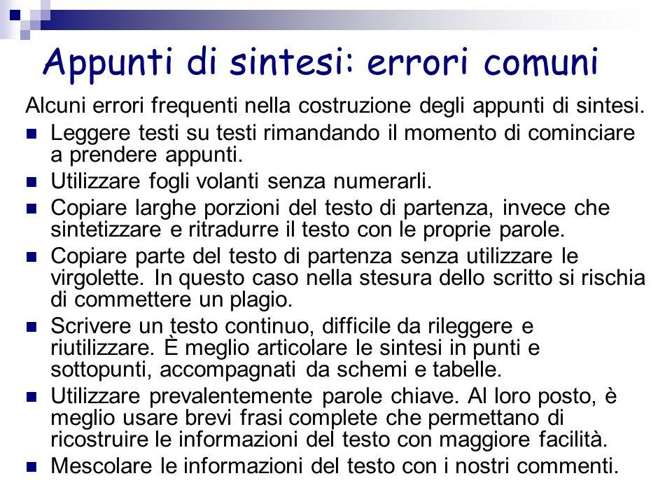 Appunti di sintesi: errori comuni Alcuni errori frequenti nella costruzione degli appunti di sintesi. Leggere testi su testi rimandando il momento di