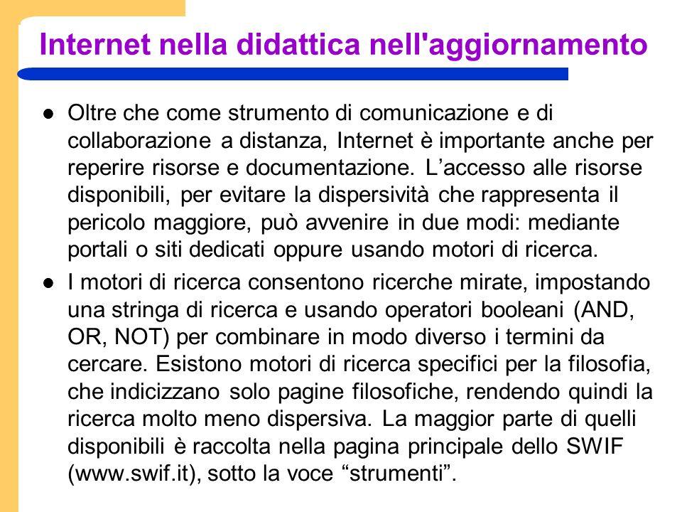 Internet nella didattica nell aggiornamento Oltre che come strumento di comunicazione e di collaborazione a distanza, Internet è importante anche per reperire risorse e documentazione.