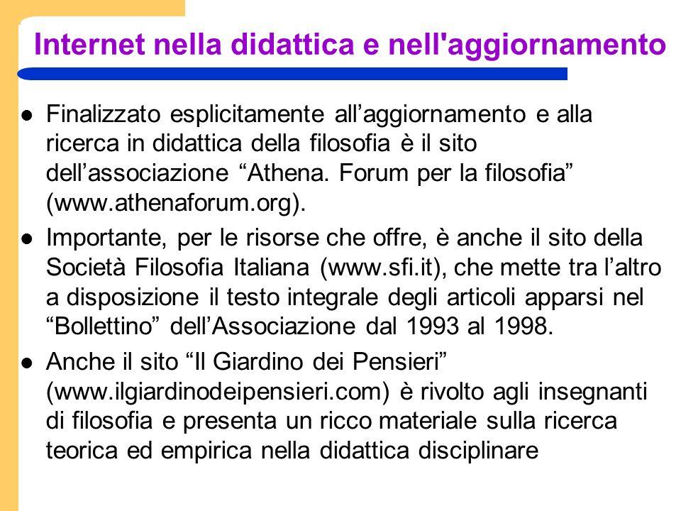Internet nella didattica e nell aggiornamento Finalizzato esplicitamente allaggiornamento e alla ricerca in didattica della filosofia è il sito dellassociazione Athena.