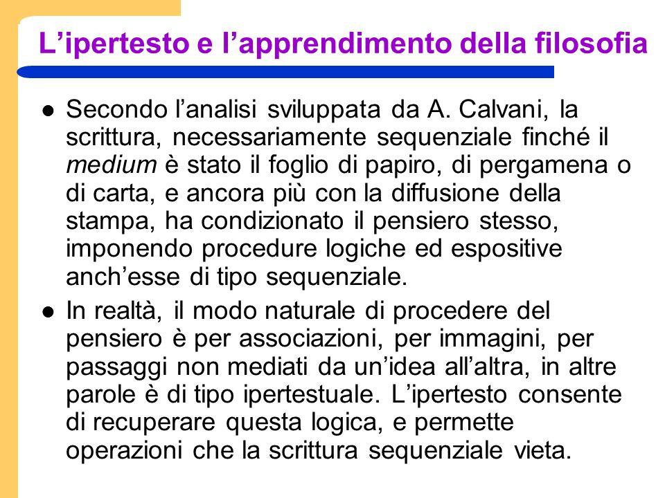 Lipertesto e lapprendimento della filosofia Secondo lanalisi sviluppata da A.