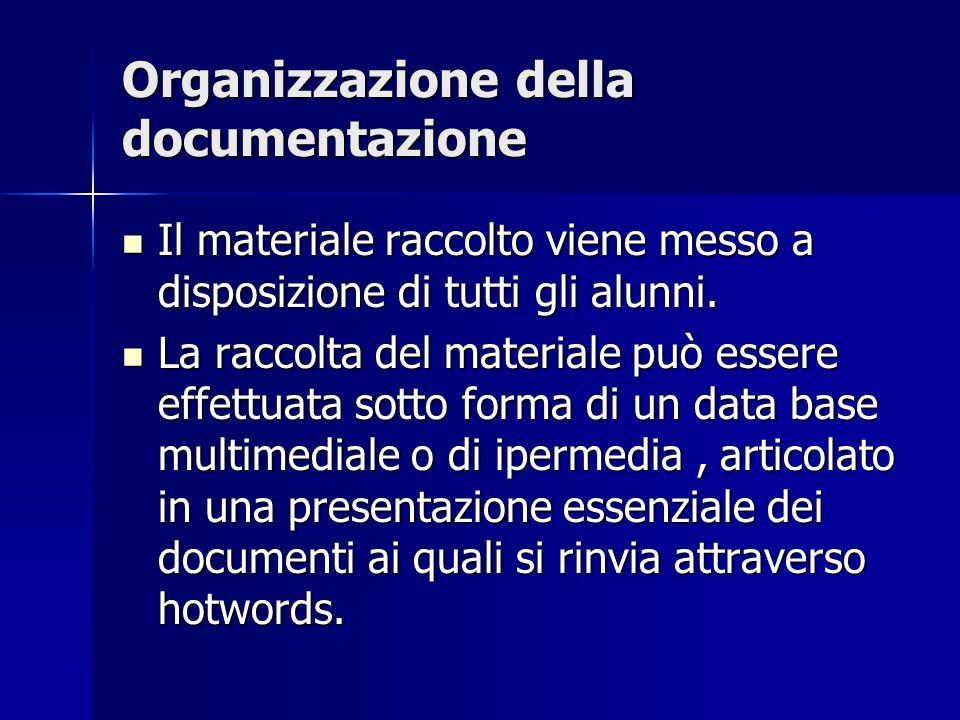 Organizzazione della documentazione Il materiale raccolto viene messo a disposizione di tutti gli alunni.