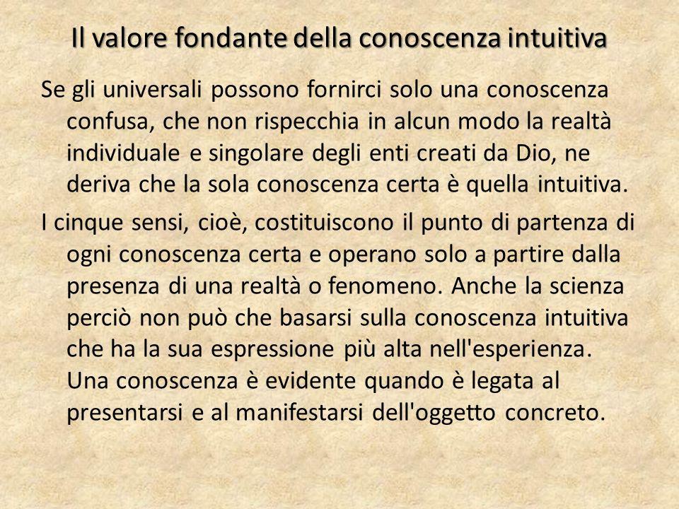 Il valore fondante della conoscenza intuitiva Se gli universali possono fornirci solo una conoscenza confusa, che non rispecchia in alcun modo la real