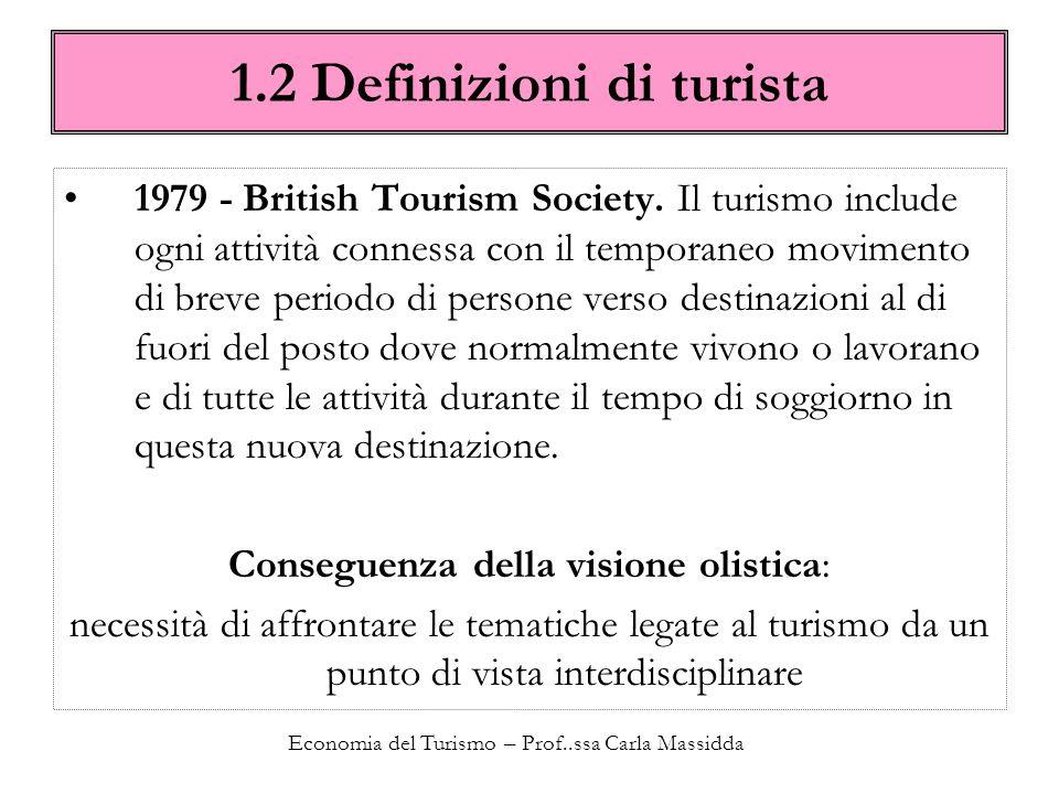 Economia del Turismo – Prof..ssa Carla Massidda Il paniere turistico viene identificato come un paniere di beni e servizi diversi.