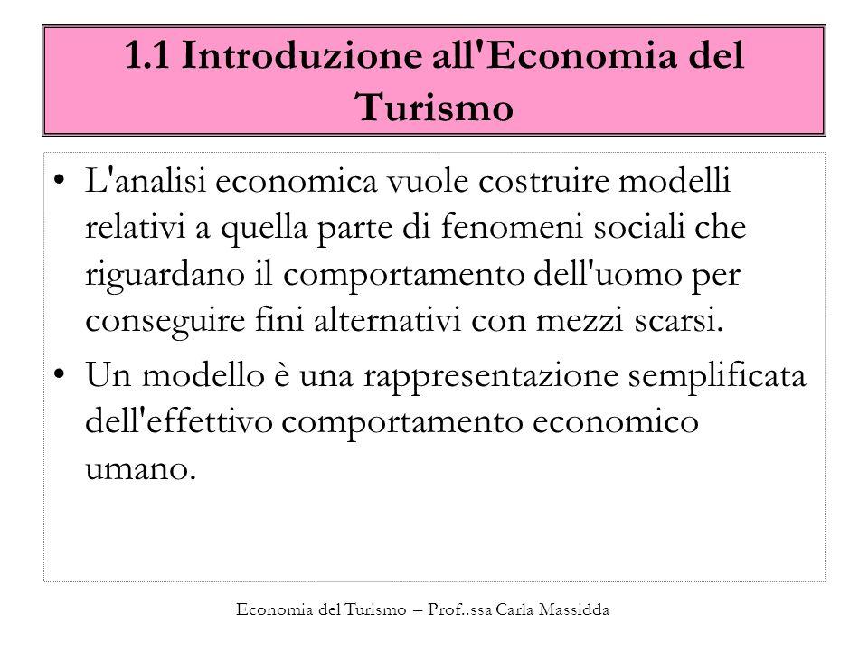 Economia del Turismo – Prof..ssa Carla Massidda 1.1 Introduzione all Economia del Turismo LEconomia del turismo è quel particolare sistema di modelli che ha lo scopo di rappresentare il comportamento dell uomo quando vuole conseguire il fine del turismo con mezzi scarsi.