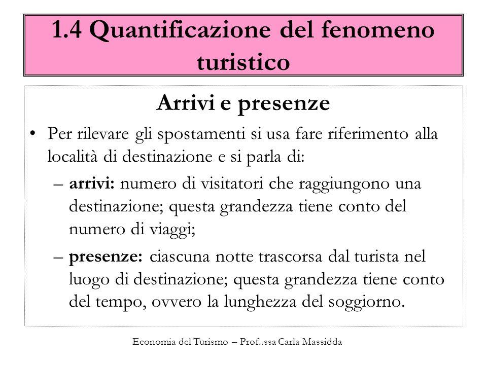 Economia del Turismo – Prof..ssa Carla Massidda 1.4 Quantificazione del fenomeno turistico Gli arrivi Il fenomeno degli arrivi può essere espresso dal seguente vettore dove r indica la località e l indice numerico crescente la tipologia di turismo.