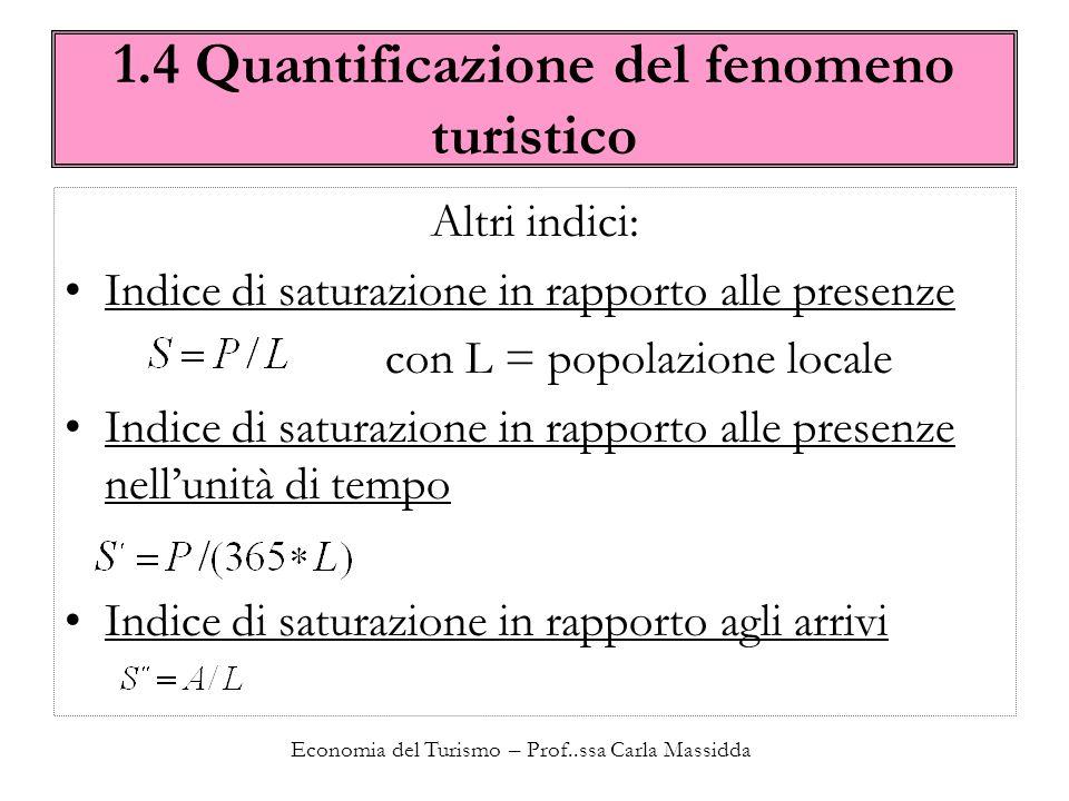 Economia del Turismo – Prof..ssa Carla Massidda 1.4 Quantificazione del fenomeno turistico L indice S può essere espresso anche in funzione dell indice S j.