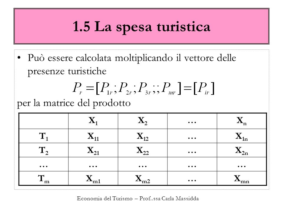 Economia del Turismo – Prof..ssa Carla Massidda 1.5 La spesa turistica Questa operazione è resa possibile grazie alla trasformazione del vettore delle presenze nella corrispondente matrice diagonale.