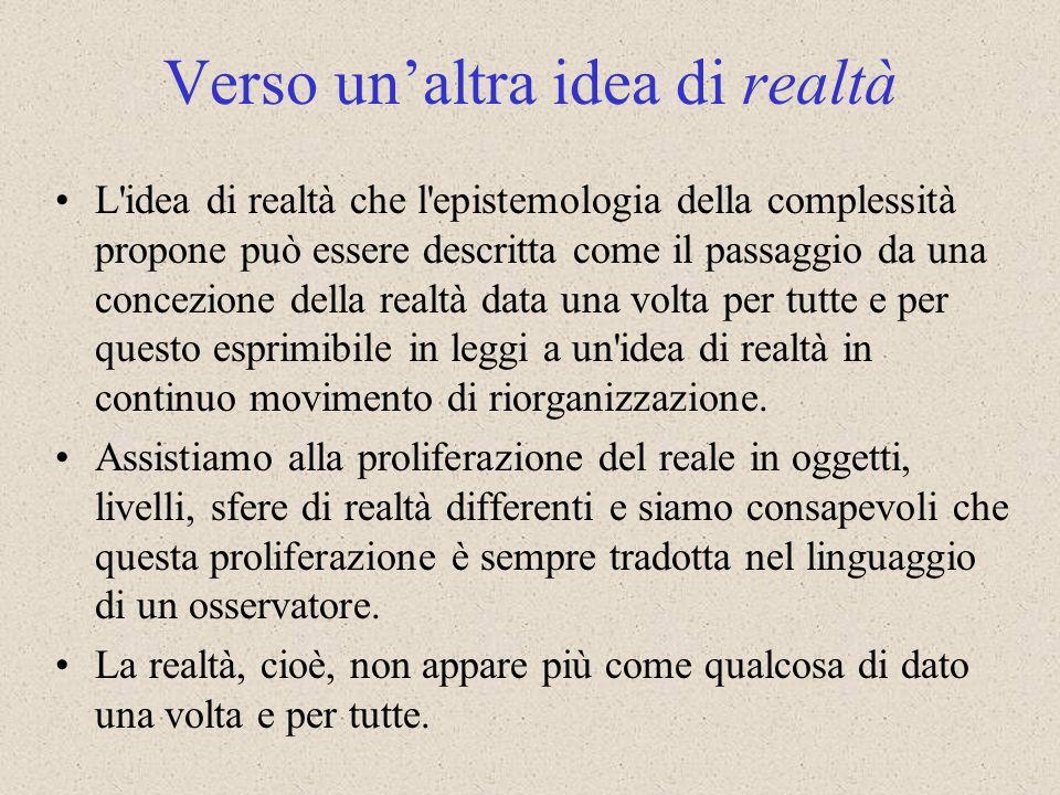 L'idea di realtà che l'epistemologia della complessità propone può essere descritta come il passaggio da una concezione della realtà data una volta pe