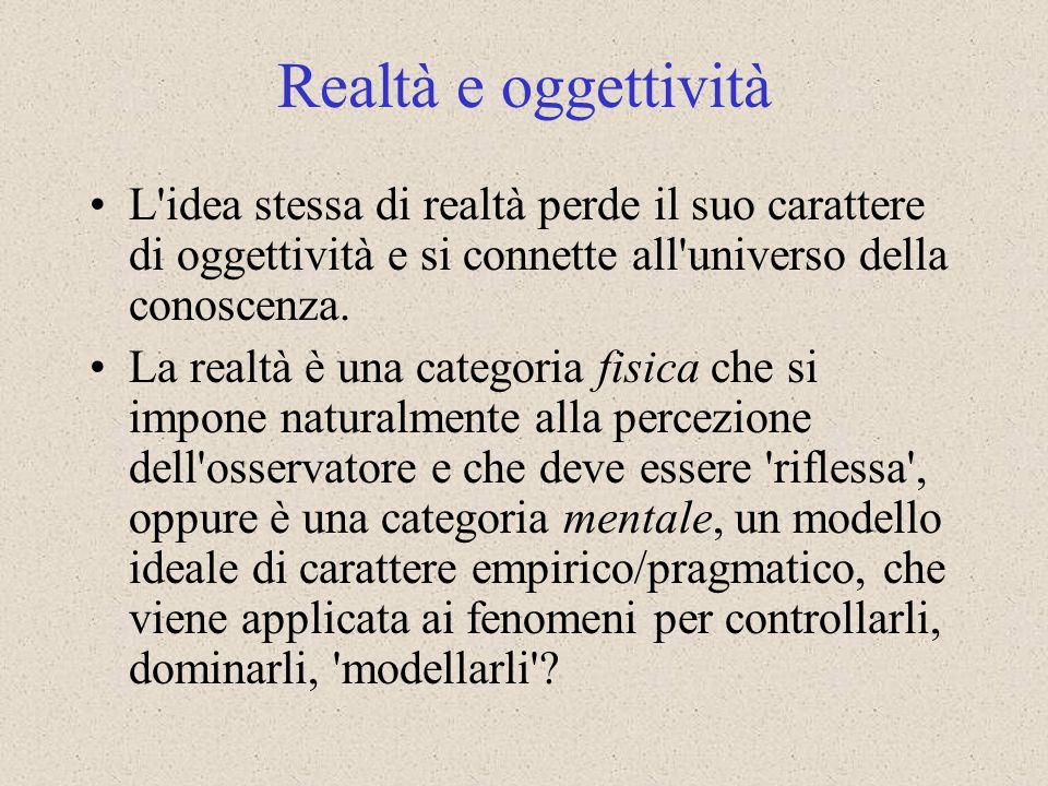 L'idea stessa di realtà perde il suo carattere di oggettività e si connette all'universo della conoscenza. La realtà è una categoria fisica che si imp