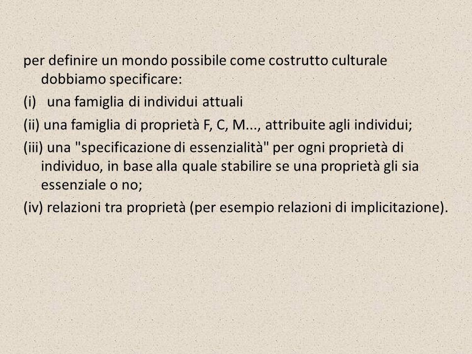per definire un mondo possibile come costrutto culturale dobbiamo specificare: (i) una famiglia di individui attuali (ii) una famiglia di proprietà F,