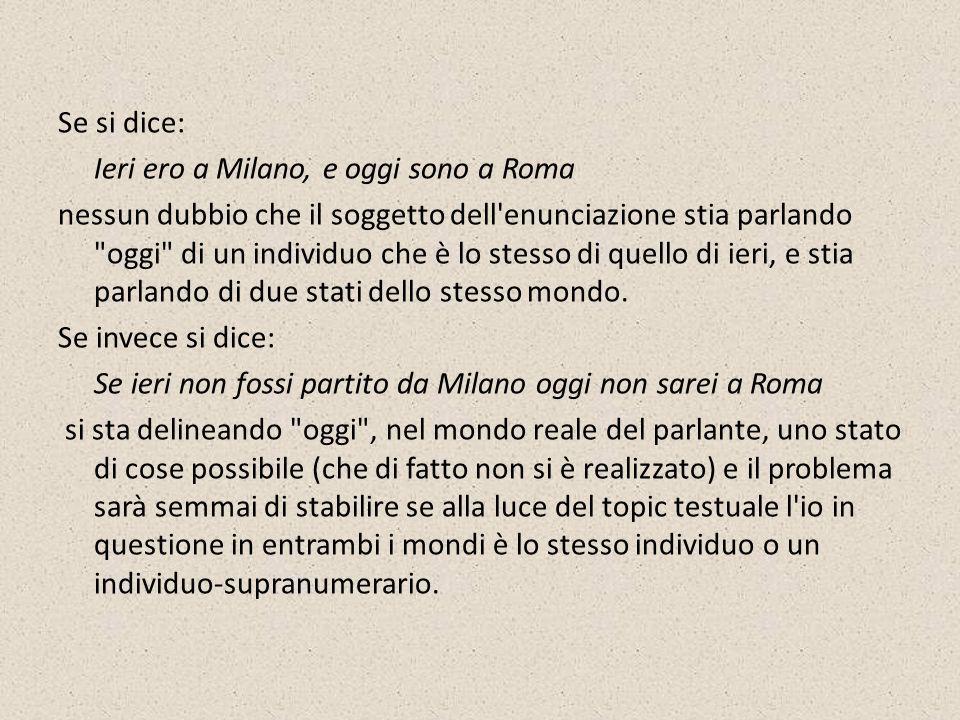 Se si dice: Ieri ero a Milano, e oggi sono a Roma nessun dubbio che il soggetto dell'enunciazione stia parlando