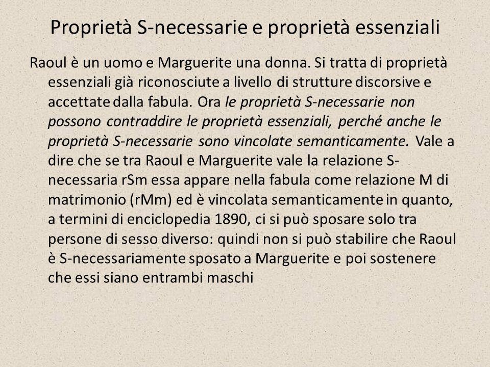 Proprietà S-necessarie e proprietà essenziali Raoul è un uomo e Marguerite una donna. Si tratta di proprietà essenziali già riconosciute a livello di