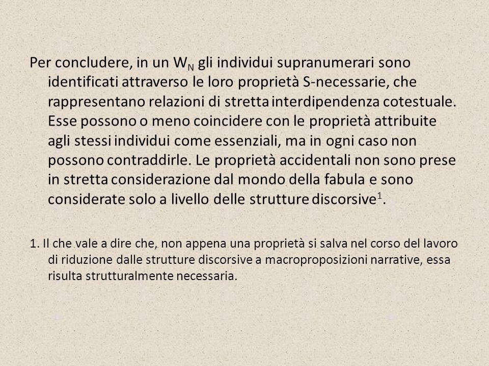 Per concludere, in un W N gli individui supranumerari sono identificati attraverso le loro proprietà S-necessarie, che rappresentano relazioni di stre