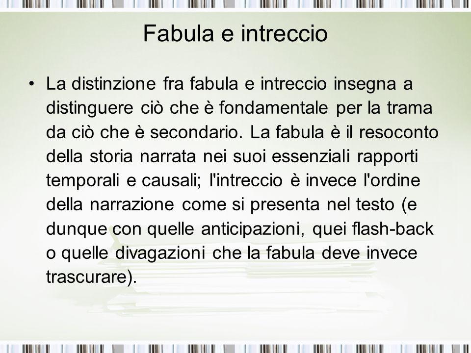 Fabula e intreccio La distinzione fra fabula e intreccio insegna a distinguere ciò che è fondamentale per la trama da ciò che è secondario. La fabula