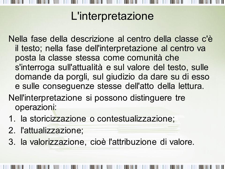 L'interpretazione Nella fase della descrizione al centro della classe c'è il testo; nella fase dell'interpretazione al centro va posta la classe stess