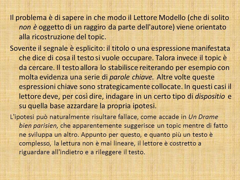 Il problema è di sapere in che modo il Lettore Modello (che di solito non è oggetto di un raggiro da parte dell'autore) viene orientato alla ricostruz