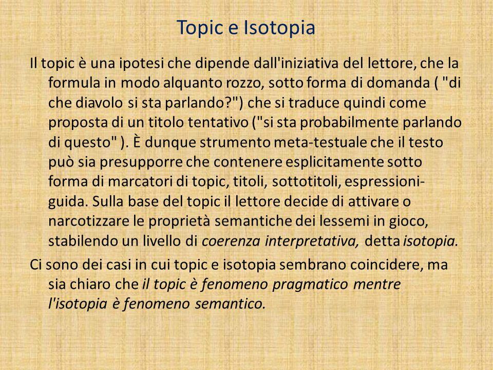 Topic e Isotopia Il topic è una ipotesi che dipende dall'iniziativa del lettore, che la formula in modo alquanto rozzo, sotto forma di domanda (
