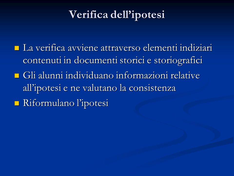 Verifica dellipotesi La verifica avviene attraverso elementi indiziari contenuti in documenti storici e storiografici La verifica avviene attraverso e