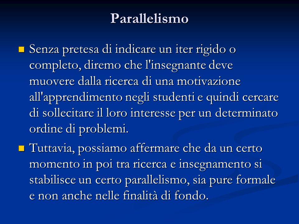 Parallelismo Senza pretesa di indicare un iter rigido o completo, diremo che l'insegnante deve muovere dalla ricerca di una motivazione all'apprendime