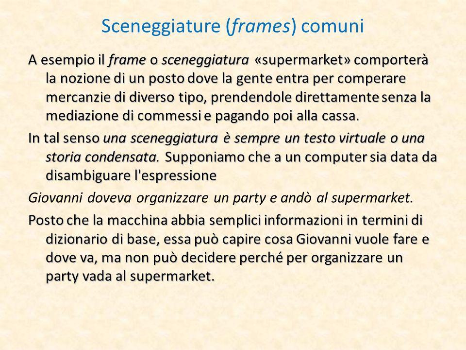 Sceneggiature (frames) comuni A esempio il frame o sceneggiatura «supermarket» comporterà la nozione di un posto dove la gente entra per comperare mer