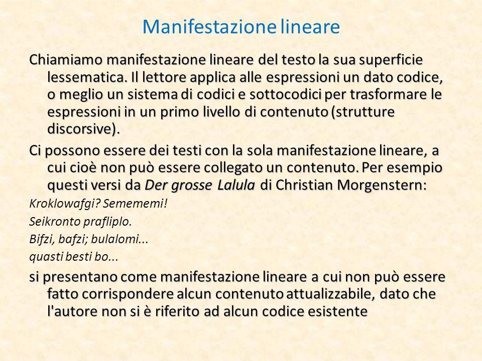 Manifestazione lineare Chiamiamo manifestazione lineare del testo la sua superficie lessematica. Il lettore applica alle espressioni un dato codice, o