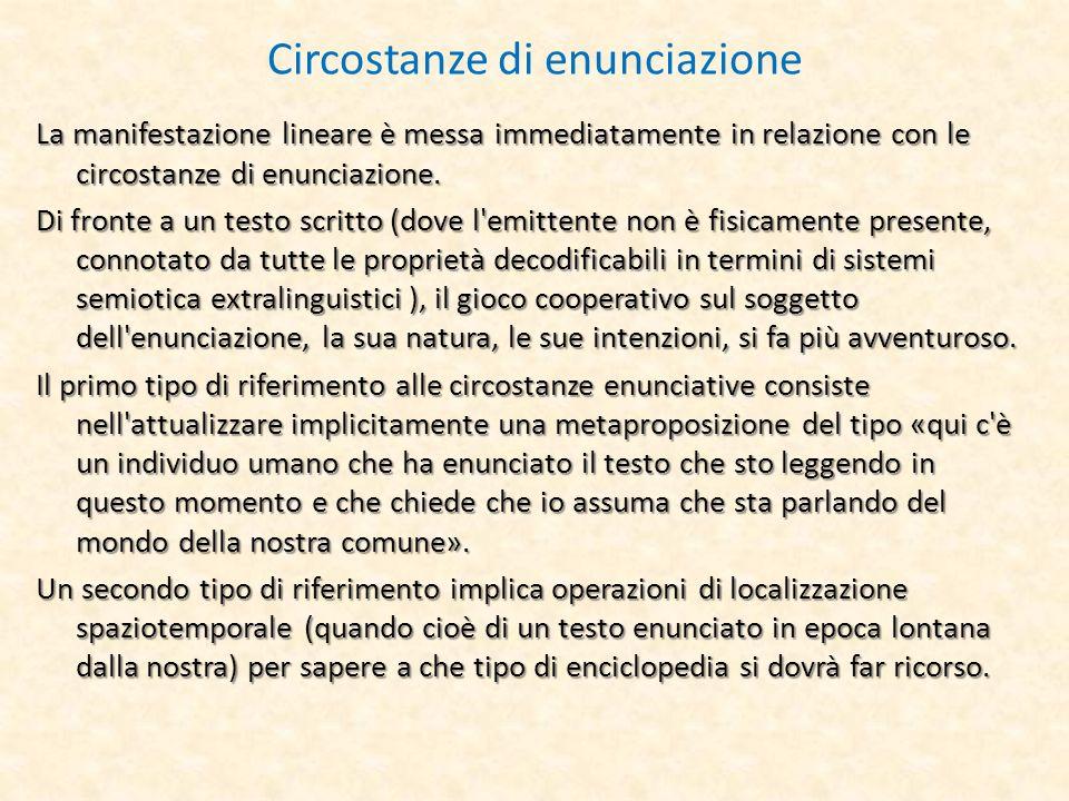 Circostanze di enunciazione La manifestazione lineare è messa immediatamente in relazione con le circostanze di enunciazione. Di fronte a un testo scr