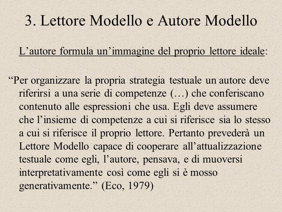 3. Lettore Modello e Autore Modello Lautore formula unimmagine del proprio lettore ideale: Per organizzare la propria strategia testuale un autore dev