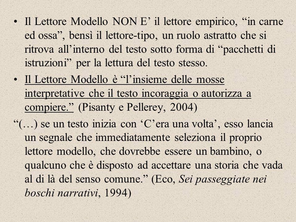 Il Lettore Modello NON E il lettore empirico, in carne ed ossa, bensì il lettore-tipo, un ruolo astratto che si ritrova allinterno del testo sotto for