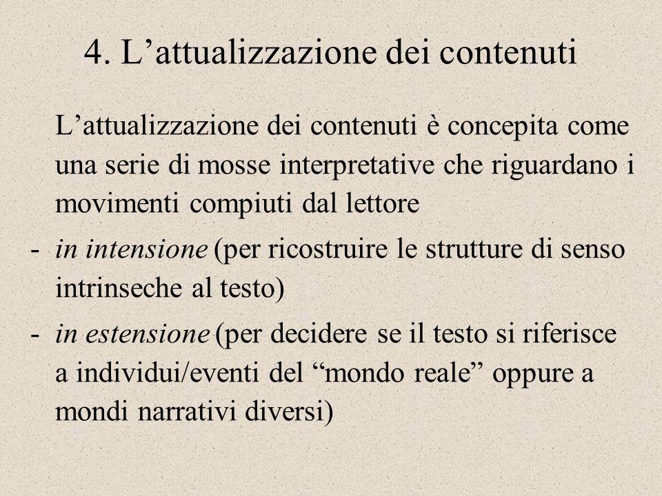 4. Lattualizzazione dei contenuti Lattualizzazione dei contenuti è concepita come una serie di mosse interpretative che riguardano i movimenti compiut