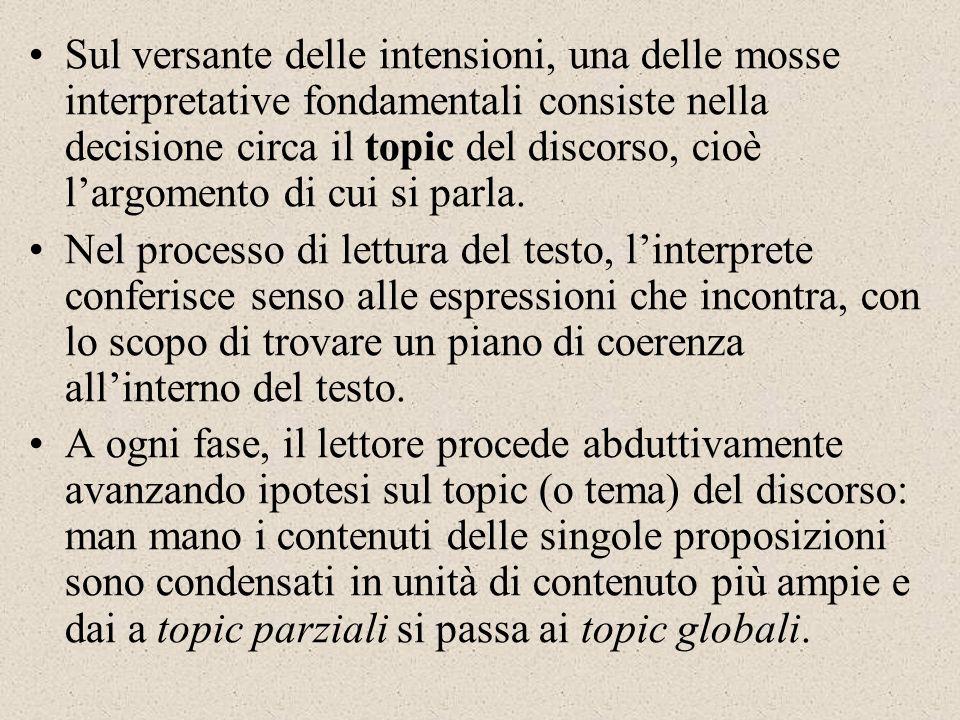Sul versante delle intensioni, una delle mosse interpretative fondamentali consiste nella decisione circa il topic del discorso, cioè largomento di cu