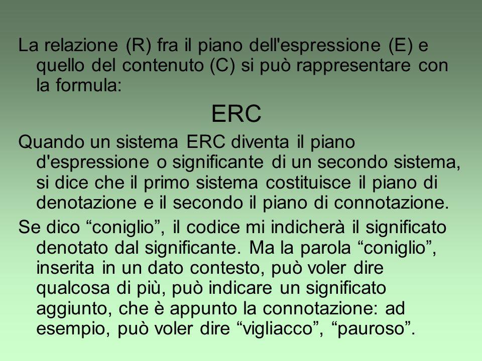 La relazione (R) fra il piano dell'espressione (E) e quello del contenuto (C) si può rappresentare con la formula: ERC Quando un sistema ERC diventa i