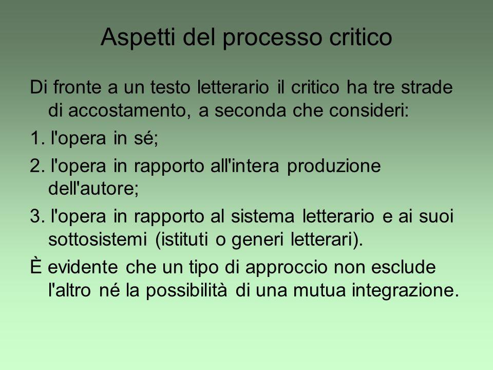 Aspetti del processo critico Di fronte a un testo letterario il critico ha tre strade di accostamento, a seconda che consideri: 1. l'opera in sé; 2. l