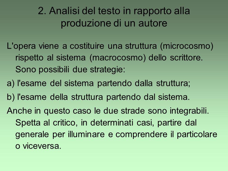 2. Analisi del testo in rapporto alla produzione di un autore L'opera viene a costituire una struttura (microcosmo) rispetto al sistema (macrocosmo) d