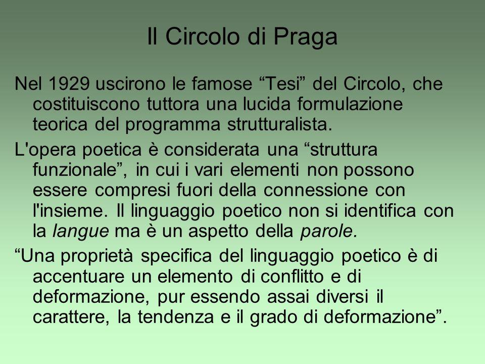 Il Circolo di Praga Nel 1929 uscirono le famose Tesi del Circolo, che costituiscono tuttora una lucida formulazione teorica del programma strutturalis