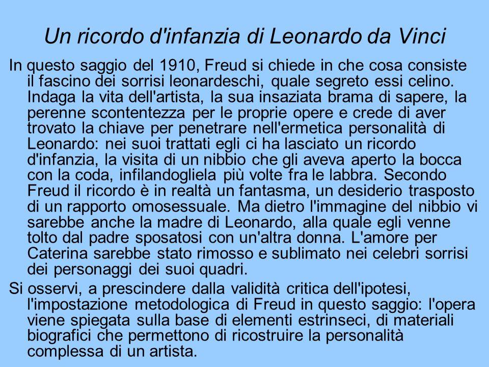 Un ricordo d'infanzia di Leonardo da Vinci In questo saggio del 1910, Freud si chiede in che cosa consiste il fascino dei sorrisi leonardeschi, quale