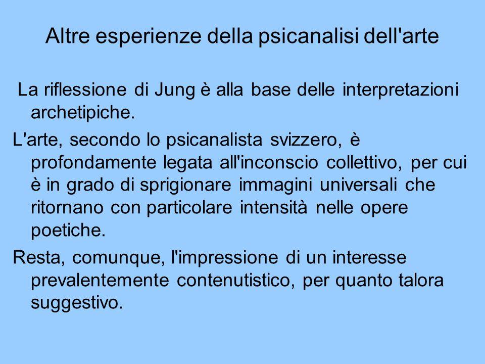 Altre esperienze della psicanalisi dell'arte La riflessione di Jung è alla base delle interpretazioni archetipiche. L'arte, secondo lo psicanalista sv