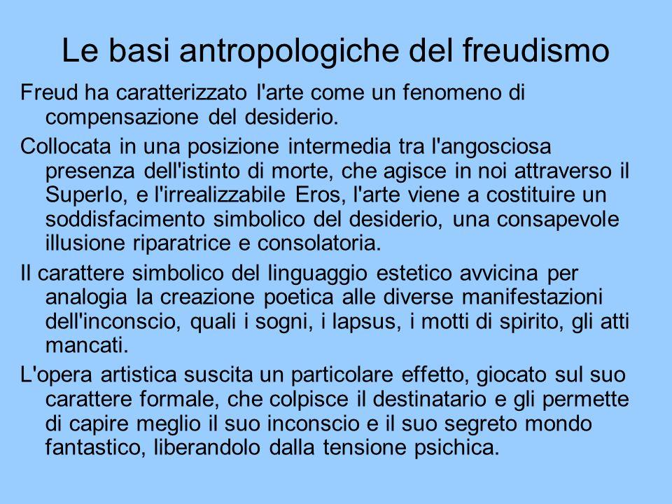 Le basi antropologiche del freudismo Freud ha caratterizzato l'arte come un fenomeno di compensazione del desiderio. Collocata in una posizione interm