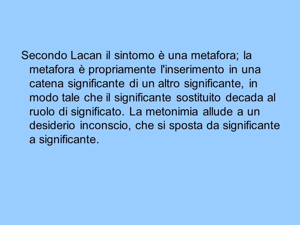 Secondo Lacan il sintomo è una metafora; la metafora è propriamente l'inserimento in una catena significante di un altro significante, in modo tale ch