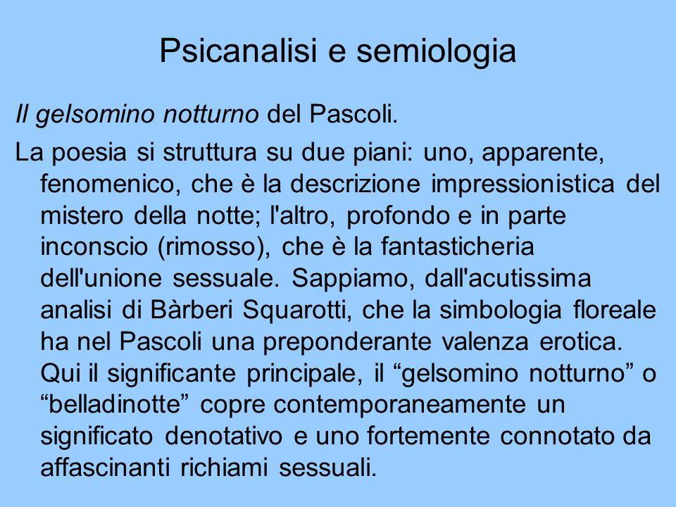Psicanalisi e semiologia Il gelsomino notturno del Pascoli. La poesia si struttura su due piani: uno, apparente, fenomenico, che è la descrizione impr
