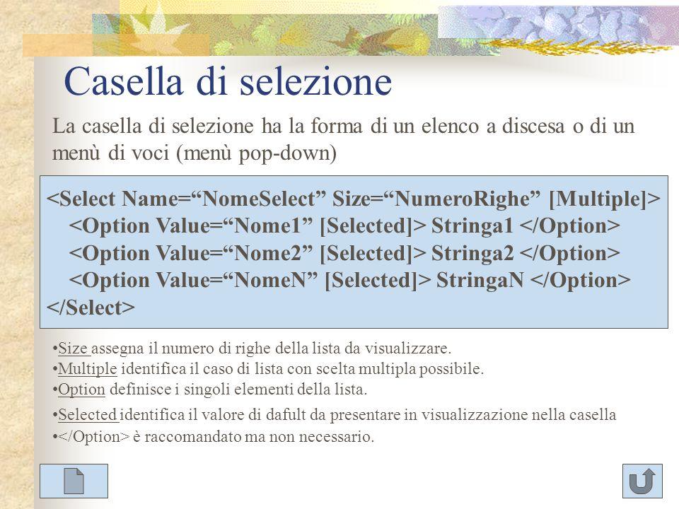 Casella di selezione La casella di selezione ha la forma di un elenco a discesa o di un menù di voci (menù pop-down) Stringa1 Stringa2 StringaN Size a