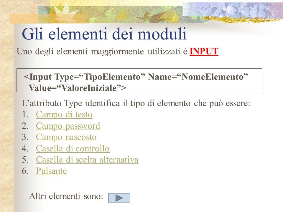 Gli elementi dei moduli Uno degli elementi maggiormente utilizzati è INPUT <Input Type=TipoElemento Name=NomeElemento Value=ValoreIniziale> Lattributo